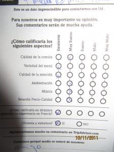 folleto medición satisfacción cliente, restaurante Francis, Montevideo, Uruguay