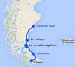 Ruta al fin del mundo, de Pto San Julian a Ushuaia